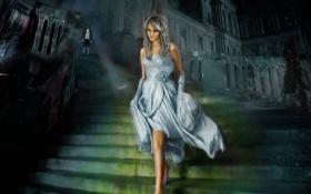 Обои Девушка, Золушка, туфелька, дворец, лестница, платье