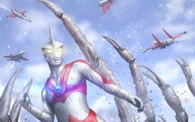 Обои маска, арт, самолеты, гигант, Ultraman