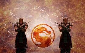 Обои огонь, дракон, лого, mortal kombat, baraka
