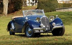 Обои трава, синий, ретро, передок, 1938, Cabriolet, красивая машина