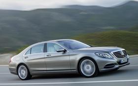 Картинка car, авто, Mercedes-Benz, road, в движении, Hybrid, S 400