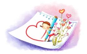 Обои бумага, рисунок, позитив, девочка, сердечки, карандаш, сапожки