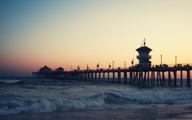 Обои море, пристань, вечер