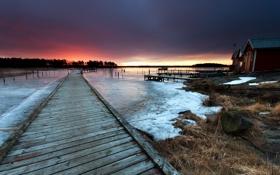 Картинка пейзаж, мост, озеро, дома, лёд
