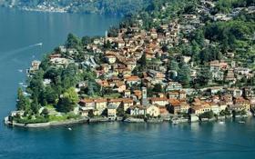 Обои город, фото, побережье, Италия, сверху, Como