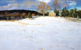 Картинка зима, лес, снег, деревья, пейзаж, дом, забор