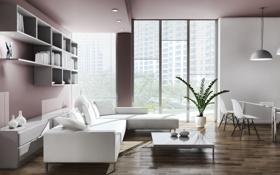 Обои стол, лампы, комната, диван, растение, окно, кресла
