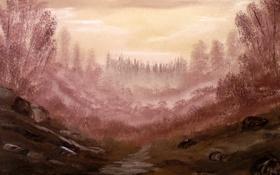 Обои деревья, река, камни, нарисованный пейзаж