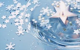 Картинка макро, снежинки, пламя, звёзды, чаша, свечка