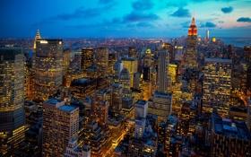 Обои огни, Нью-Йорк, вечер, сумерки