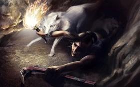Картинка девушка, волк, арт, факел, Tomb Raider, Лара Крофт, Lara Croft