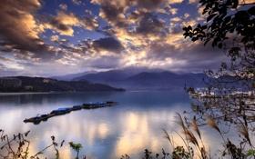 Обои море, вода, облака, холмы, корабли