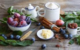 Картинка листья, масло, посуда, фрукты, орехи, корица, сливы
