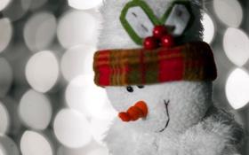 Обои макро, игрушка, снеговик