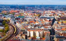 Картинка город, фото, дома, Германия, сверху, Berlin