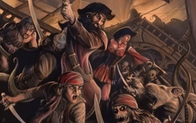 Картинка оружие, корабль, арт, пираты, битва, нежить