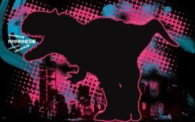 Картинка темный, силуэт, тиранозавр