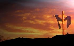 Обои ткань, горизонт, деревяный, холм, небо, крест
