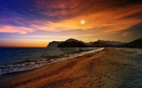 Обои море, волны, пляж, солнце, закат, горы, Черное