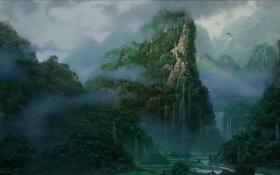 Картинка пейзаж, горы, туман, скалы, водопад, радуга, арт