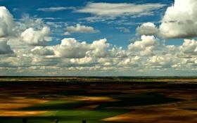 Обои небо, облака, вид, поля, долина