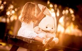 Картинка заяц, игрушка, девочка
