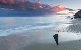 Обои море, пейзаж, зонт
