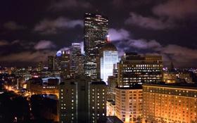 Картинка Massachusetts, Бостон, Boston, Массачусетс, night, ночь