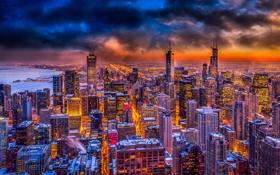 Картинка ночь, огни, высота, небоскребы, Чикаго, USA, Chicago