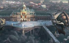 Обои город, дирижабль, облака, арт, здание, корабли, высота