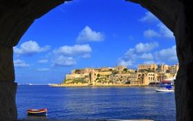 Обои Мальта, небо, облака, свод, скала, город, арка