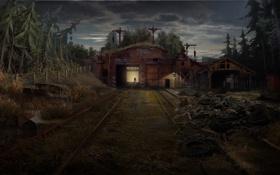 Обои лес, склад, вечер, Россия, 1С-СофтКлаб, Новый Союз, New Union