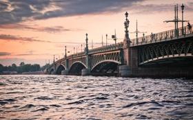 Обои город, река, мост