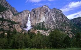 Обои лес, горы, природа, водопад, trees, landscape, mountain