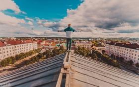 Обои крыша, city, город, человек, Калуга, Kaluga