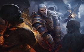 Обои охота, witcher, CD Projekt RED, The Witcher 3: Wild Hunt, geralt, Geralt of Rivia, монстры