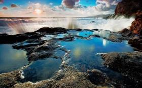 Картинка море, брызги, камни, скалы, волна, природ