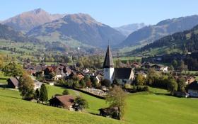 Картинка трава, пейзаж, горы, город, фото, дома, Швейцария