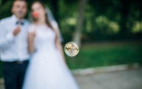 Обои невеста, жених, мыльный пузырь