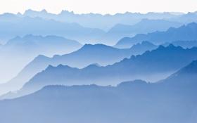 Обои пейзаж, горы, туман, холмы