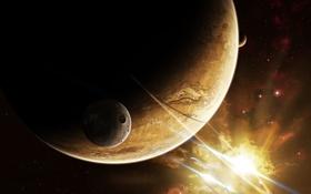 Обои свет, планеты, кратер, спутники