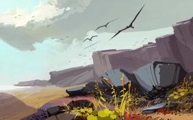 Обои птицы, камни, арт, полёт, нарисованный пейзаж