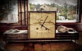 Картинка трещины, часы, окно, арт