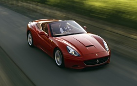 Обои дорога, красный, фон, Феррари, Калифорния, Ferrari, суперкар