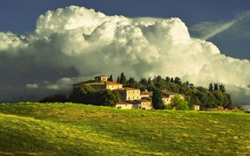Картинка небо, облака, дом, усадьба