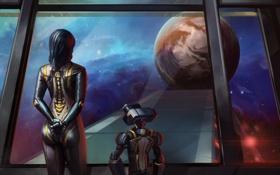 Обои планета, робот, станция, mass effect, art, cerberus