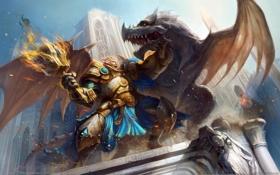 Обои Ether Saga Online, мужик, факел, дракон