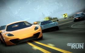 Обои гонка, скорость, полиция, погоня, поворот, суперкары, McLaren MP4-12C