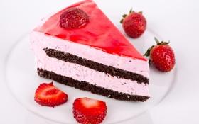 Обои ягоды, клубника, тарелка, торт, пирожное, десерт, сладкое