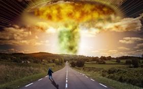 Обои дорога, деревья, взрыв, разметка, апокалипсис, дома, ребёнок